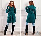 СТИЛЬНОЕ пальто с капюшоном и поясом NOBILITAS 42 - 48 зеленое итальянский кашемир (арт. 18034), фото 2