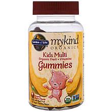 """Поливитамины для детей Garden of Life, MyKind Organics """"Kids Multi Gummies"""" вишневый вкус (120 мишек)"""
