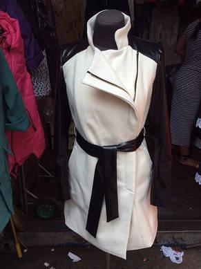 Кашемировое женское пальто с рукавами эко кожа, фото 2