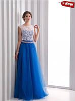 Вечернее нарядное платье (бело-синее) 15-30