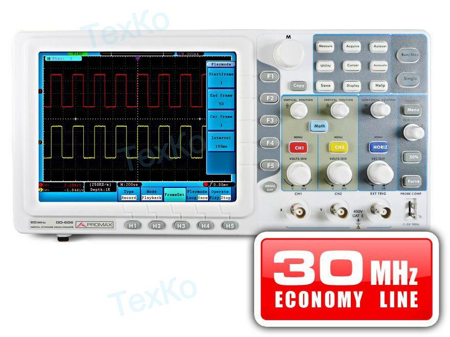Цифровой запоминающий осциллограф PROMAX OD-603: 30 МГц (экономический ценовой диапазон)