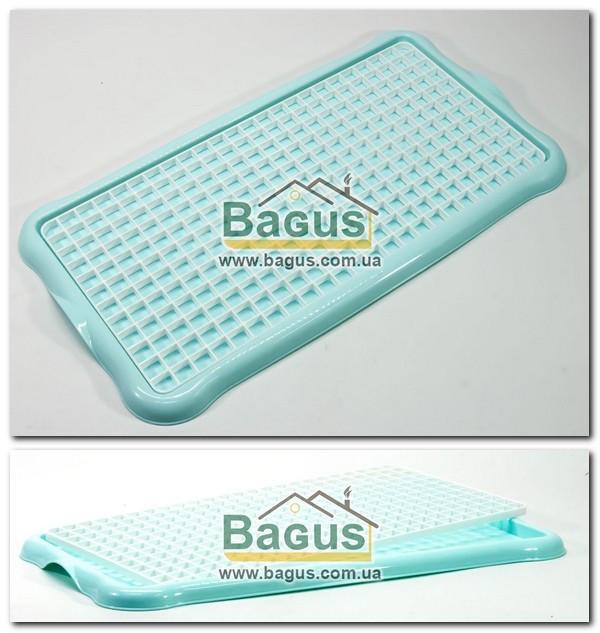 Сушилка-поднос для посуды и фруктов пластиковая 40х22х1,5см (цвет - бирюзовый) Hobby Life 1311-4