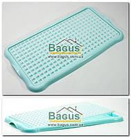 Сушилка-поднос для посуды и фруктов пластиковая 40х22х1,5см (цвет - бирюзовый) Hobby Life 1311-4, фото 1