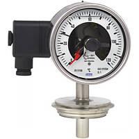 Манометрический термометр с эл.контактами, исполнение из нерж. сталидля стерильных технологических процессов, с байонентным кольцом, IP65, НР 100 мм