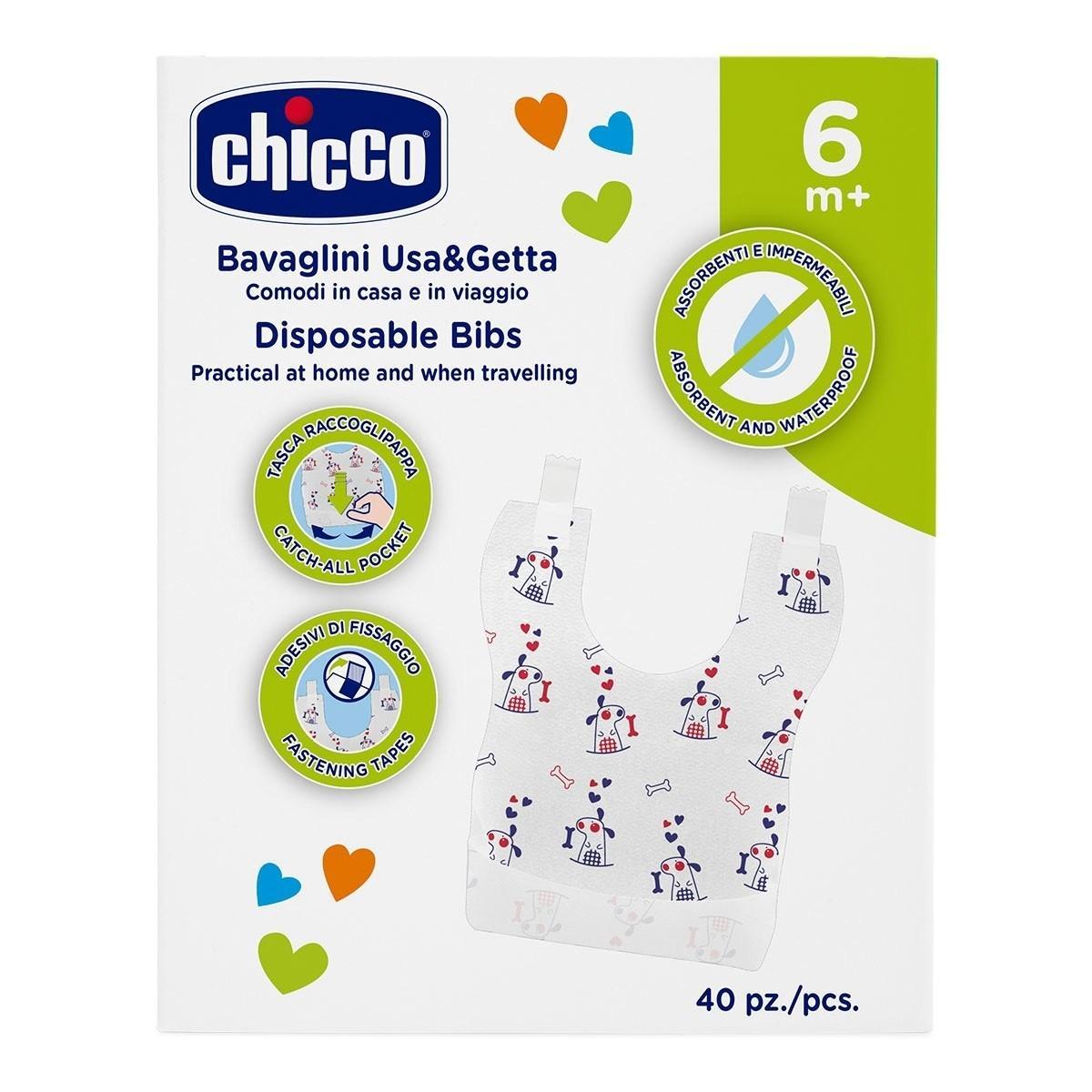 Нагрудники одноразовые Chicco, 40 шт, 6 мес+