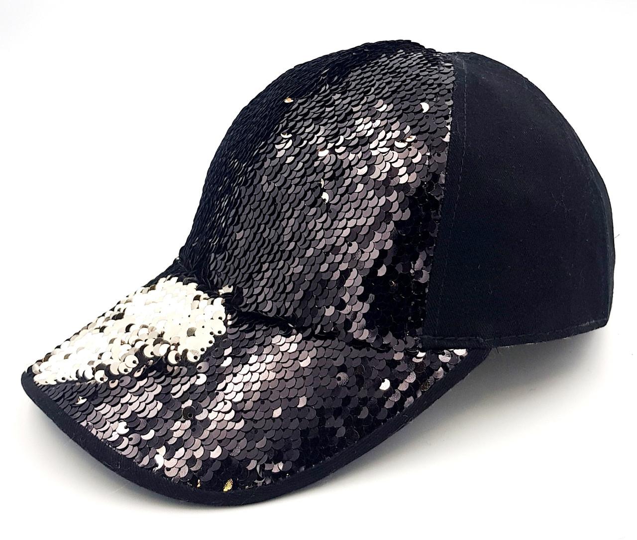 Женская бейсболка Klaus  Пайетки Коттон Чёрный One size -Демисезон (038-П)