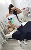 Свободная женская футболка хулиганка с отпечатками белая 42/44/46, фото 1