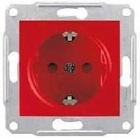 Розетка с заземлением и защитными шторками красная Schneider Sedna (SDN3000341)