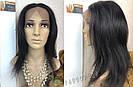 💎Парик из натуральных волос, чёрный с шелком💎 (имитация кожи головы), фото 4