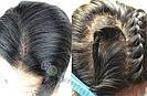 💎Парик из натуральных волос, чёрный с шелком💎 (имитация кожи головы), фото 8
