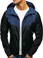 Куртка мужская весенняя с капюшоном ветровка черно-синяя (демисезонная)