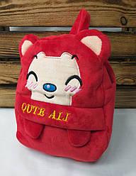 Детский плюшевый рюкзак красного цвета Qute Ali, регулируемые лямки