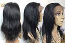 💎Чёрный парик из натуральныйх волос на сетке💎 (имитация кожи головы), фото 2
