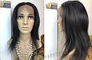 💎Чёрный парик из натуральныйх волос на сетке💎 (имитация кожи головы), фото 4