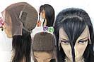 💎Чёрный парик из натуральныйх волос на сетке💎 (имитация кожи головы), фото 5