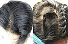 💎Чёрный парик из натуральныйх волос на сетке💎 (имитация кожи головы), фото 6