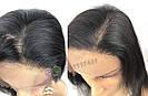 💎Чёрный парик из натуральныйх волос на сетке💎 (имитация кожи головы), фото 7
