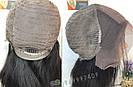 💎Чёрный парик из натуральныйх волос на сетке💎 (имитация кожи головы), фото 9