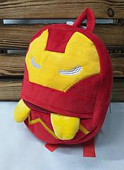 """Детский плюшевый рюкзак красного цвета """"Железный человек"""", регулируемые лямки"""