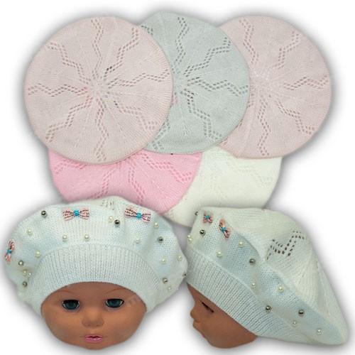 Вязаные шапки береты для детей, р. 48-50