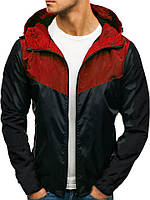 Куртка мужская весенняя с капюшоном ветровка черно-красная (демисезонная)