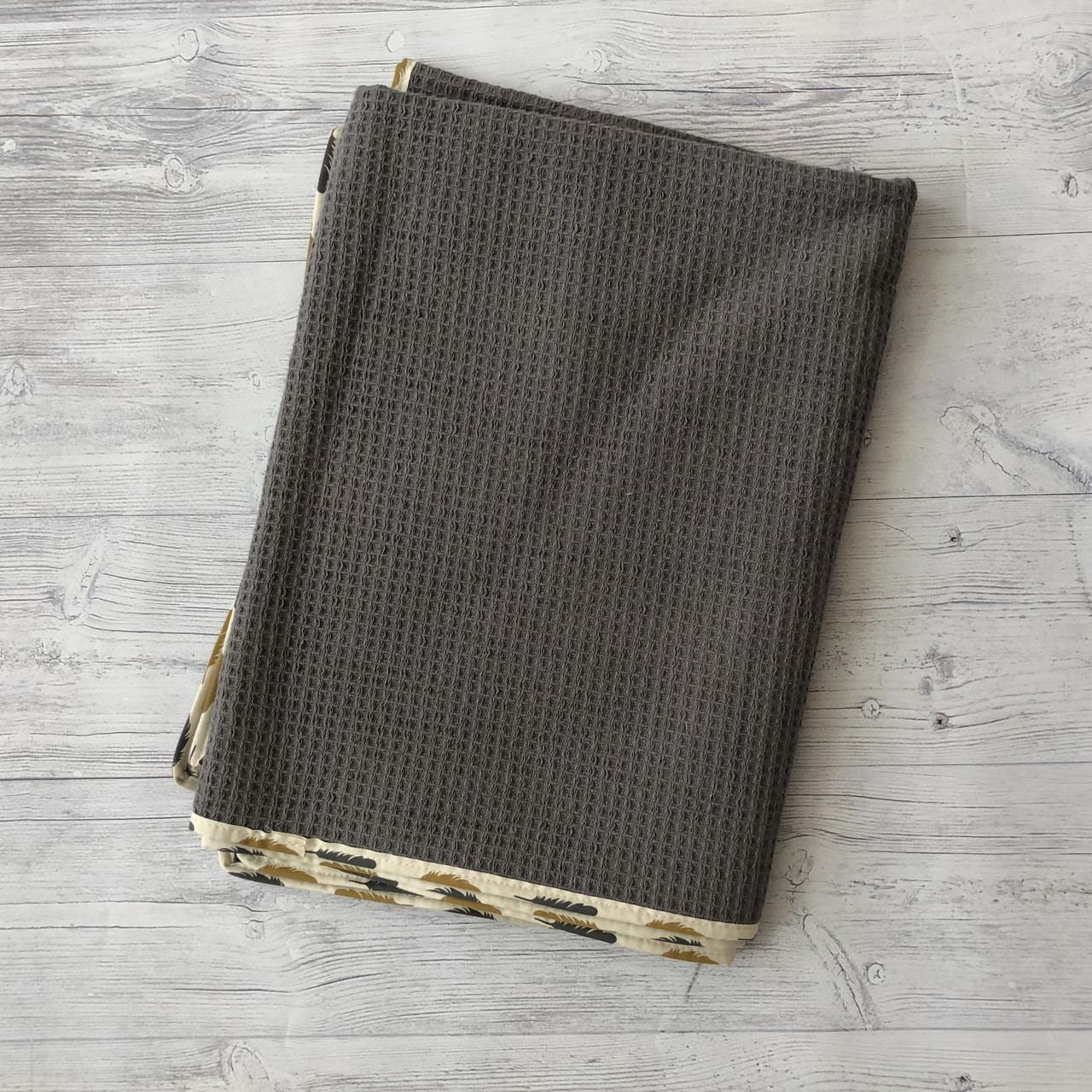 Рушник Вафелька з махрою сірий 100х75
