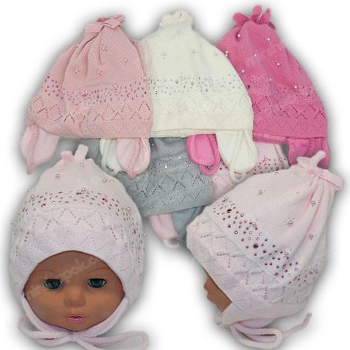 Детские весенние шапки на завязках, р. 44-46