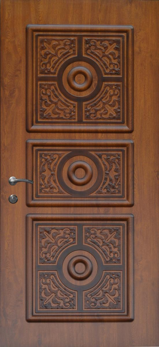 Двери квартирные, модель 144 Комфорт 970*2050, коробка 110 мм, KALE, 3 контура уплотнения, худож. фрезеровка