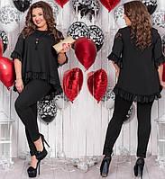 a4472bee985 Женская блузка свободный фасон короткий рукав черная батал размер 50-52