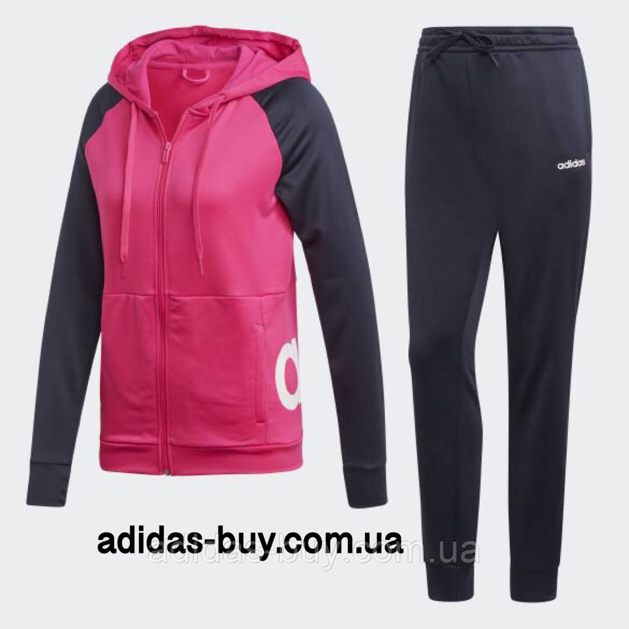 32c25228 Спортивный костюм adidas женский WTS Lin FT Hood оригинальный DV2426 цвет:  синий/розовый -