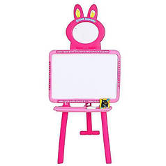 Мольберт 2 в 1 Доска знаний магнит азбука Limo Toy 0703 UK-ENG Pink