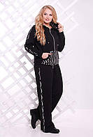 Спортивный костюм из качественного трикотажа двойного плетения, с паетками, большого размера 54-62, фото 1