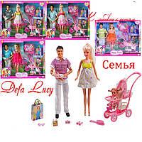 Беременная кукла с семьей DEFA 8088, коляска с ребёнком, аксессуары