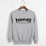 Мужской спортивный серый свитшот, кофта, лонгслив, реглан Thrasher Huf Worldwide, Реплика