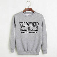 Мужской спортивный серый свитшот, кофта, лонгслив, реглан Thrasher Skaterboarding, Реплика