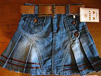 Детская джинсовая юбка  с ремнем для девочки 5-8 . Турция
