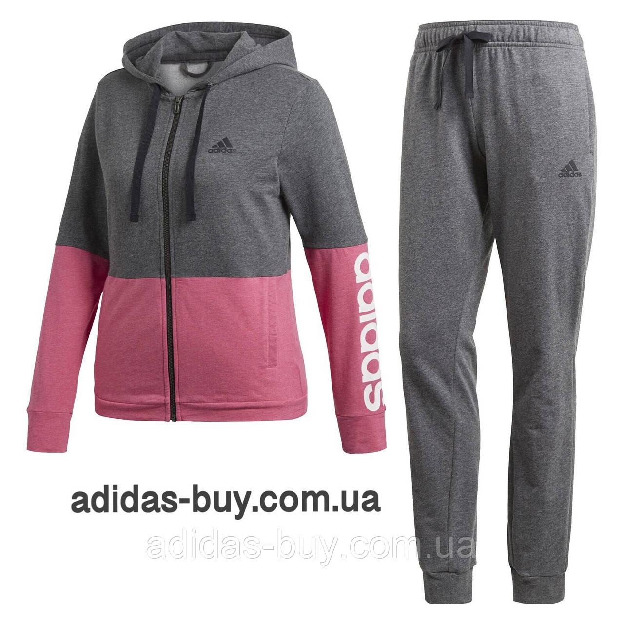 Спортивный женский костюм adidas оригинальный WTS CO MARKER CZ2328 цвет: серый / розовый