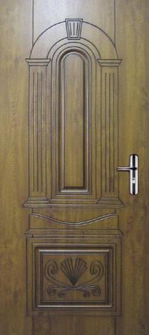 Двері квартирні, модель 160 Комфорт 970*2050, коробка110 мм, KALE, 3контура ущільнення, золотий дуб, патина, фото 2