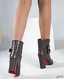 Демисезонные кожаные женские ботильоны на устойчивом каблуке, фото 6