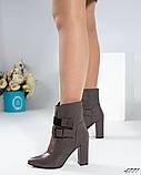 Демисезонные кожаные женские ботильоны на устойчивом каблуке, фото 2