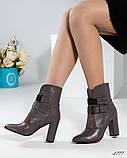 Демисезонные кожаные женские ботильоны на устойчивом каблуке, фото 4