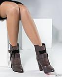 Демисезонные кожаные женские ботильоны на устойчивом каблуке, фото 5