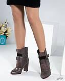 Демисезонные кожаные женские ботильоны на устойчивом каблуке, фото 3