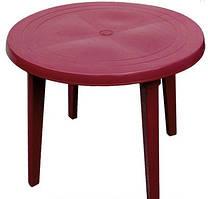 Стол круглый пластиковый D90 см вишневый