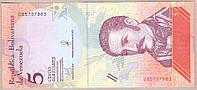 Банкнота Венесуэлы 5 боливар 2018 г. UNC