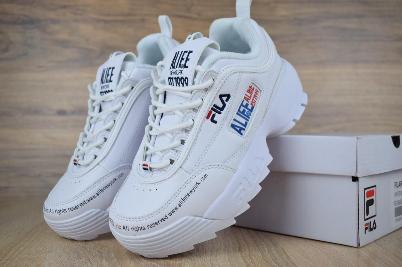 3c1e699bd834a9 Женские кроссовки в стиле Fila Disruptor 2 x ALIFE, белые полностью -  Интернет магазин