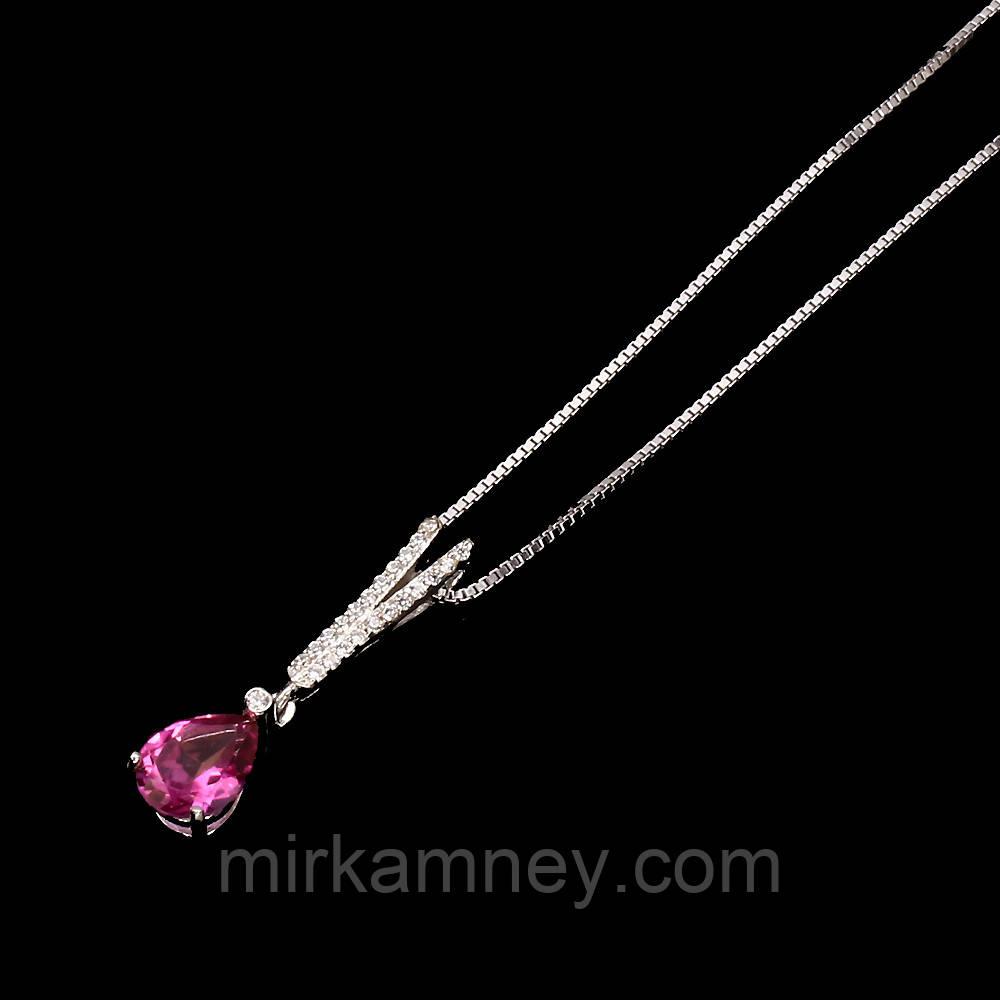 Кулон натуральный Розовый Топаз. Серебро 925, покрытое белым золотом + цепочка