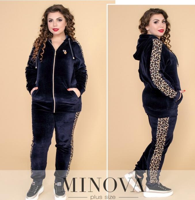 ce0a0c56 Велюровый спортивный костюм-двойка с контрастными леопардовыми вставками р.  50-62