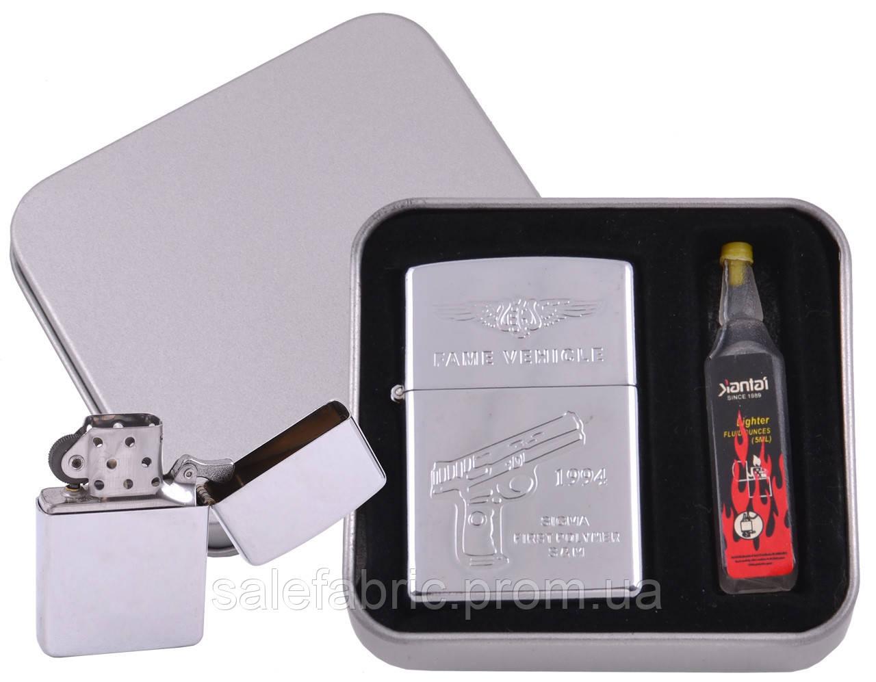 Зажигалка бензиновая в подарочной коробке + баллончик бензина Пистолет №XT-3861-4