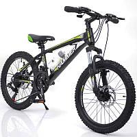 Горный подростковый велосипед S200 HAMMER Колёса 20 дюймов Рама 12  Япония Shimano Зеленый
